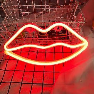 labios rojo de neón muestra ligera de neón de labios luz lámpara de pared de la decoración del sitio de la batería y USB Operado LED de luces de neón rojo de labios señales de neón Lámparas