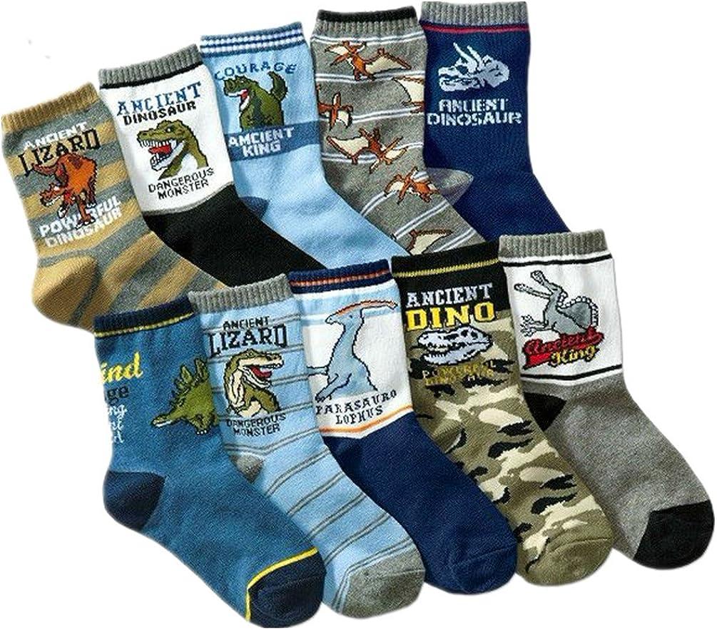 Little Boys Socks Soft Cotton Dinosaur Kids Traffic Metrics Socks Pack of 10