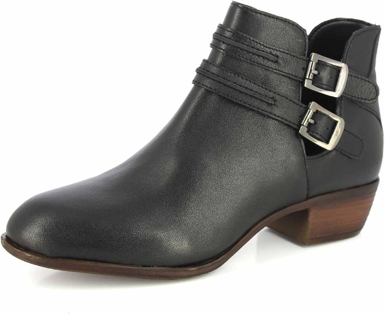ALBERTO TORRESI Women's Leather Boot Buckle Straps Stacked Low Heel Ankle Booties
