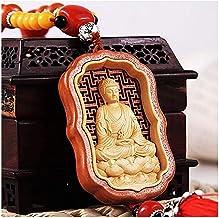 Feng Shui Wooden Buddha Car Rear Mirror Hanging Ornament Chinese Traditional Car Pendant Feng Shui Ornament,Yoga Meditatio...