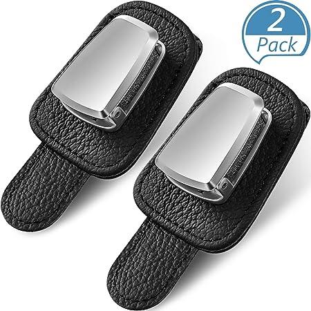 DESON 2 Pcs Car Glasses Holder Clip Car Sun Visor Glasses Holder Universal Leather Sunglasses Holder Clip for Car