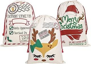 PIXHOTUL 3 Pack Santa Sacks Cotton Christmas Bag Large Drawstring Xmas Gift Sack 27.5