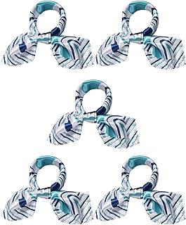 منديل رقبة للنساء من uxcell K10 مربع الشكل بتموجات مبتكرة، أزرق وأبيض 5 قطع
