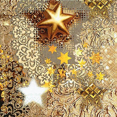 20 Servietten Goldrausch/Sterne/Weihnachten 33x33cm