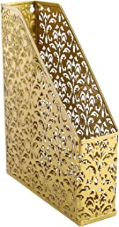EasyPAG Heavy Duty Magazine File Holder Paper Book Storage Office Desk Organizer,Gold