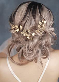 FXmimior Bride Hair Accessories Hair Pins Clip Bobby Pins Vintage Gold Leaf Bridesmaid Headpiece Customised Wedding pack of 3