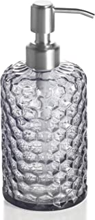 Easy-Tang 16 Oz Grey Glass Soap Dispenser - Refillable Wash Hand Liquid, Dish Detergent, Shampoo Lotion Bottle with Brushed Nickel Pump Holder, Ideal for Bathroom Countertop, Kitchen, Laundry Room