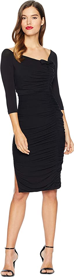 Ruched Off Shoulder Calvet Sleeved Wiggle Dress