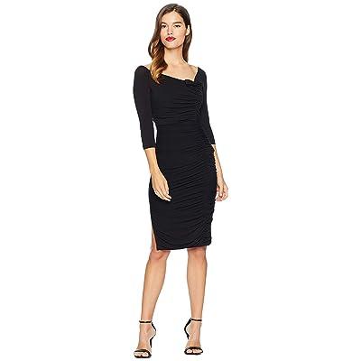 Unique Vintage Ruched Off Shoulder Calvet Sleeved Wiggle Dress (Black) Women