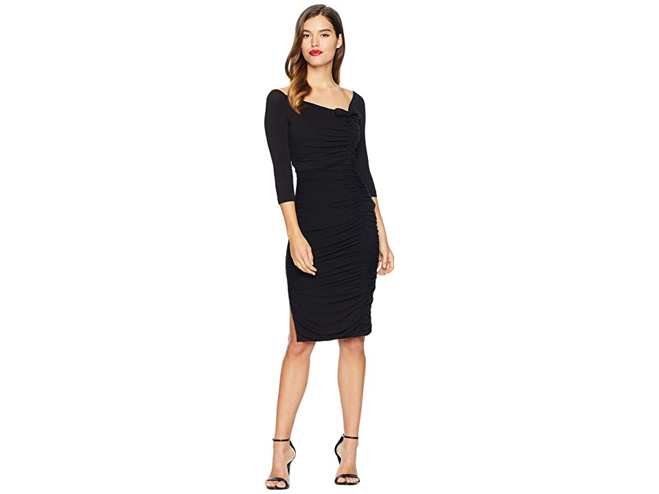 Unique Vintage Ruched Off Shoulder Calvet Sleeved Wiggle Dress (Black) Women