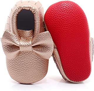 HONGTEYA Tassel Bow Baby Moccasins - Boys and Girls Shoes for Infants, Babies, Toddlers