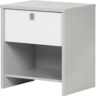 South Shore Cookie 1-Drawer Nightstand, Soft Gray & Pure White