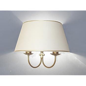 Applique Lampada da Parete a Due Luci Paralume Ventola Cono Ovale Produzione Propria (Hecho en Italy) (Decoro Oro)