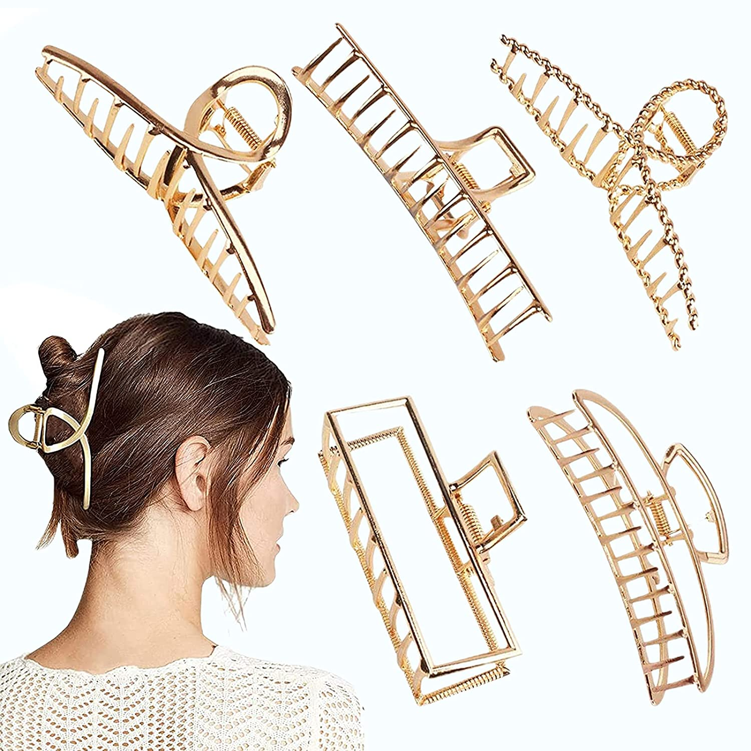 4.7 Inch Large Gold Metal Hair Claw Clips Big St 5PCS Be Cheap super welcome