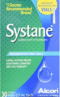 Systane Lubricant Eye Drops, Preservative-Free Vials - 30 ct, Pack of 2