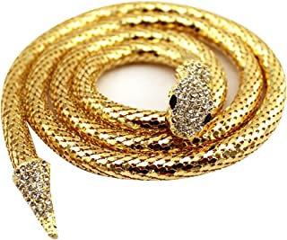 Edith qi Queen Bendable Snake Necklace Choker Bracelet Twistable Waistband Belt for Party