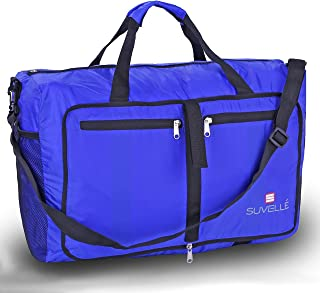 """SUVELLÉ Suvelle Lightweight 21"""" Travel Foldable Duffel Bag for Luggage Gym Sports Water Resistant Nylon Duffle"""