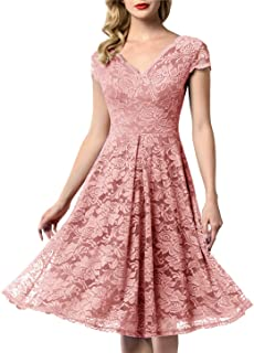 f40b5ec0f AONOUR Women's Vintage Floral Lace Bridesmaid Dress 3/4 Sleeve Wedding Party  Midi Dress