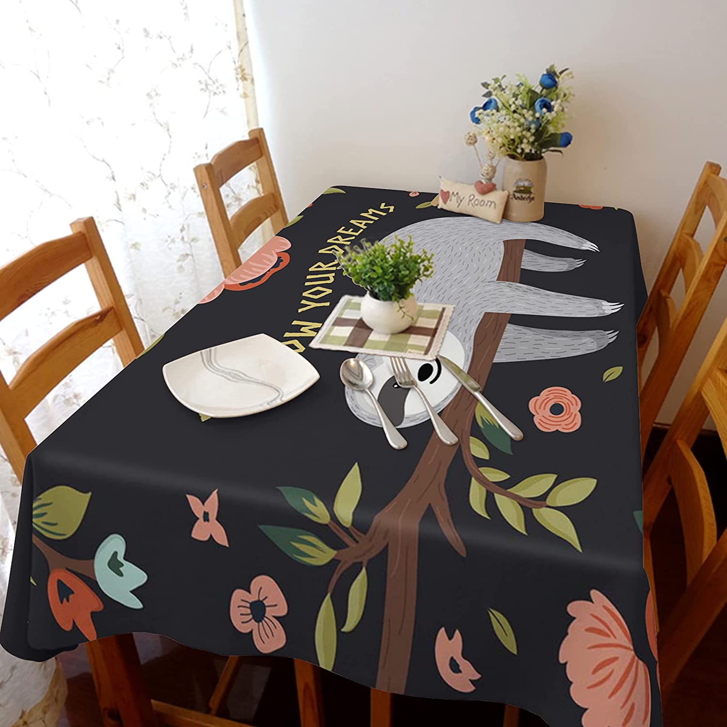Bombing free shipping Arts Language Tablecloth for Seattle Mall Rectangle Table Fo Quote Cute Sloth
