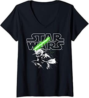Womens Star Wars Yoda Lightsaber Logo V-Neck T-Shirt