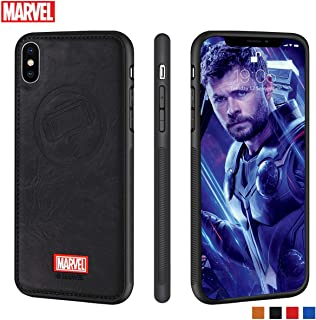 Marvel Avengers iPhone Leather Case Protective Cell Phone Case for iPhone X/XS Marvel Avengers Comic Super Hero Inspired Series 3D Premium Scratch-Resistant (Thor)