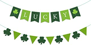 BeYumi St Patrick's Day Garland Banner, Lucky Three Leaf and Green Pennants, Irish Shamrock Burlap Banners