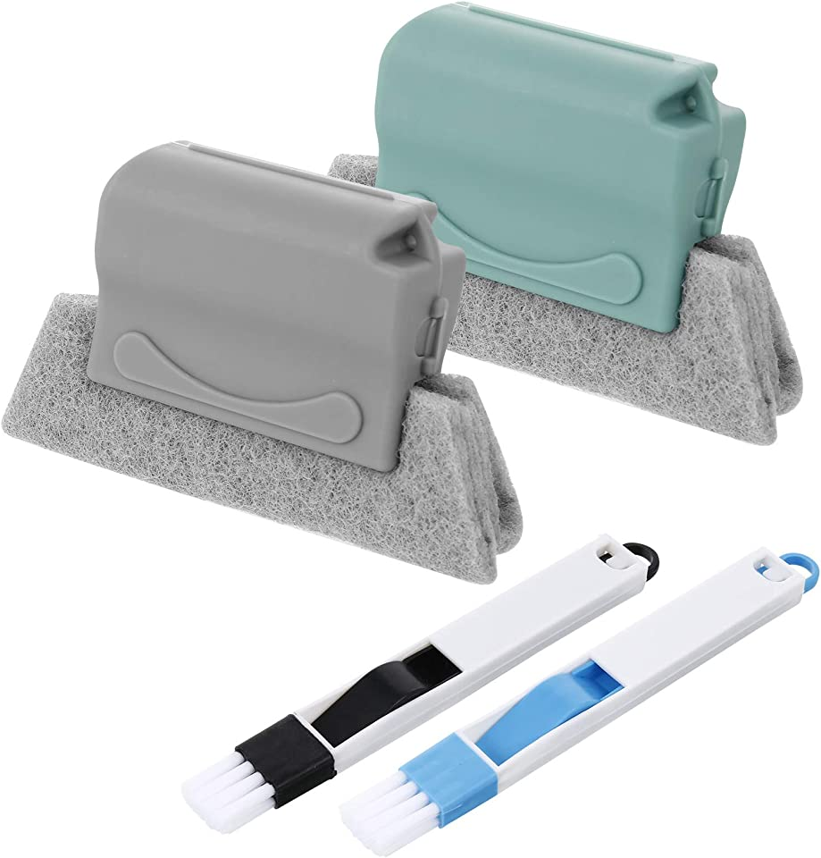 Pinenuts 2PCS Window Groove Cleaning Brush Groove Cleaning Brush Magic Window Cleaning Brush Hand-held Window Gap Door Track Cleaning Brushes Set Scouring Pad Cleaner Tool