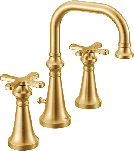 lowest Moen TS44103BG Colinet Traditional Two Widespread High-Arc popular Bathroom online Faucet with Cross Handles Valve Required, Brushed Gold sale