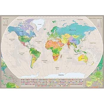 Stylish Living Mapa Mundo Gigante para Pared Mapamundi Mural ...