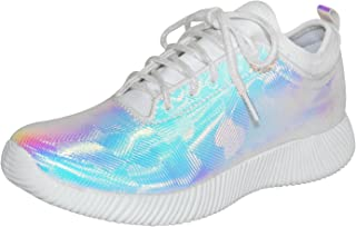 Women's Fashion Sneakers Lace Up Metallic Iridescent Painting Creepers Casual Sports Walking Shoes