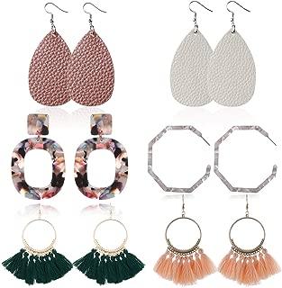 6 Pairs Tassel Earrings Hypoallergenic Big Hoop Dangle Fringe Boho Colorful Piercing Chandelier Statement Tortoise Shell Earring Sets for Women