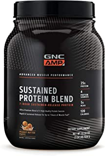 GNC AMP Sustained Protein Blend - Peanut Butter Puffs, 2.04 lbs, High-Quality Protein Powder for Muscle Fuel