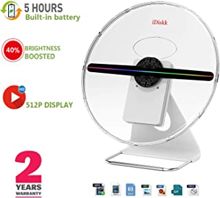 IDISKK Original 3D Hologram Fan 30CM Portable Holographic Display Projector Photo and 512P HD Video Advertising Projector Fan for Shops Office Business Home