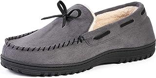 VeraCosy Men's Memory Foam Warm Faux Wool Lined Moccasin Slipper