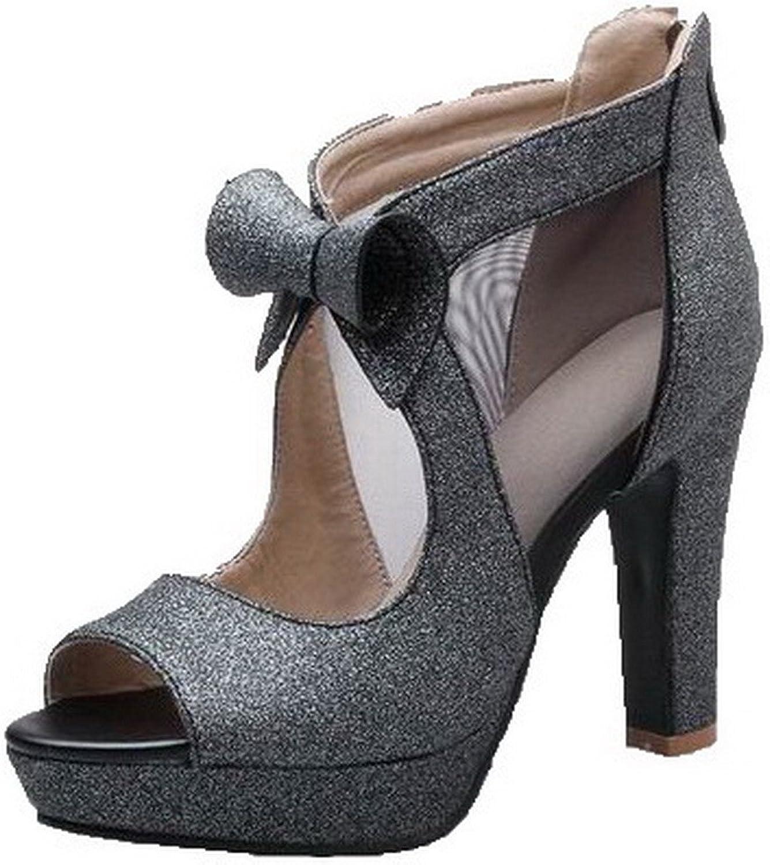 AllhqFashion Women's Open-Toe Zipper Blend Materials Solid High-Heels Sandals