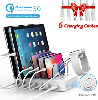 Soopii Quick Charge 60W/12A 6-Port USB Charging Station for Multiple Devices, 6 Charging Cables Included, I Watch Holder,for Phones,Tablets, Other Electronics,White