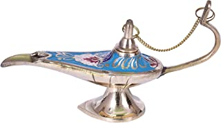 diollo Brass Aladdin Chirag Genie Oil Lamp Burner Hand Painted Chirag Lamp