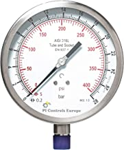PI Controls UK Pressure Gauge, PG-150-R28-WF-SS