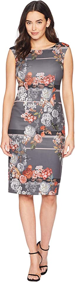 Royal Lined Floral Sheath Dress with Exposed Zipper