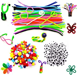 500pcs Pipe Cleaners Set 100pcs chenille stems 250pcs Pom poms 150pcs Wiggle googly eyes, Assorted Colors DIY Craft Decoration Party Favor Supplies As Educational Toy for Kids Handmade DIY Craft
