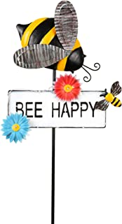 TERESA'S COLLECTIONS 39 inch Metal Solar Garden Lights Outdoor Decorative Solar Stake with BEE Happy Sign for Patio Yard D...