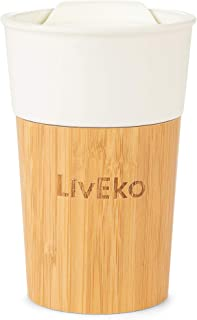 LivEko Eco Friendly Travel Coffee Mug - Reusable Insulated Tumbler For Hot & Cold Drinks - Splashproof Sliding Removable Lid & Bamboo Material - Portable, Safe Spill Proof Thermos Cup