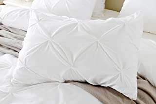 Precious Star Linen Pillow Sham Set of 2 Pinch Plated/Pintuck Pillow Cover Sham Solid Design 625 Thread Count Natural Cotton, Hypoallergenic (White Solid, King/Cal-King (20'' x 40''))