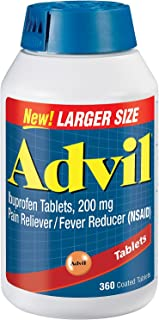 Advil (360 Count) Pain Reliever/Fever Reducer Coated Tablet, 200 mg Ibuprofen, Temporary Pain Relief