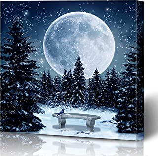 Ahawoso Canvas Prints Wall Art Printing 12x12 Blue Moon Moonlight Sky Winter Scene Night Weather Nature Parks Bench Bird Branch Leaves Christmas Painting Artwork Home Living Room Office Bedroom Dorm