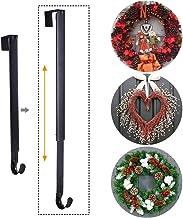 Sattiyrch Wreath Hanger,Adjustable Metal Over Door Hook from 15-25 Inch,Holds up to 20 lbs (Black, 1)