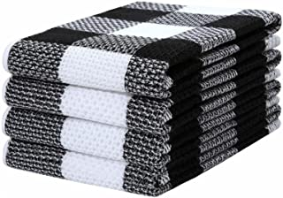 Mordimy 100% Cotton Waffle Weave Check Plaid Kitchen Towels, 13 x 28 Inches, Super Soft and Absorbent Dish Towels for Kitc...