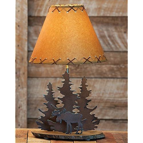 Black Forest Decor Moose Rustic Metal Lamp   Cabin Lighting Fixtures