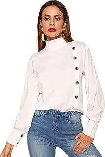 Women's High Neck Collar Button Front Long Sleeve Shirt Blouse Tops