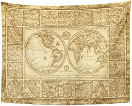 Tarolo Decor Wall Tapestry Brown World The Map Made by Ink on Old Medieval Nautical Vintage Fantasy 80 x 60 Inches Wall Hanging Picnic for Bedroom Living Room Dorm